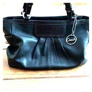 Coach Black and Silver Tone Leather Handbag Purse